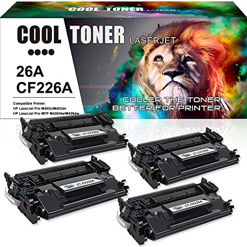 Cool Toner 4PK Compatible Toner Cartridge Replacement for HP 26X CF226X 26A CF226A for HP Laserjet Pro M402dn M402n M402d M402dw, Laserjet Pro MFP M426fdw M426fdn M426dw, M402 M426 Series Printer Ink ()
