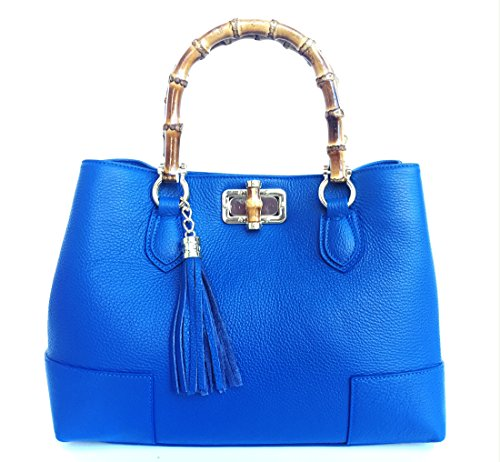 Bambù Vero Borsa Superflybags Jungle Modello Vera Pelle Con Italy Donna In Blu Made Manici pdndxUvq