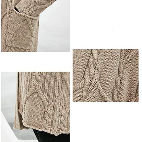 Y Invierno Otoño Size Brown Brown Largo En Cardigan Grueso E Suelta Mujer Punto color Suéter De M Abrigo x4ZwgPIqqR
