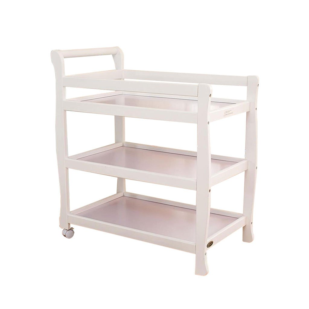 ZJ- Baby fence Baby Changing Table Three Layers Solid Wood Baby Nursing Desk Shower Stand Massage Table Two Rounds Removable for 0~3 Years Old && (Color : White)