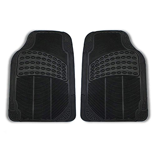 FH Group FH-F11306 Front Vinyl Floor Mats, Solid Black Color- Fit Most Car, Truck, SUV, or Van