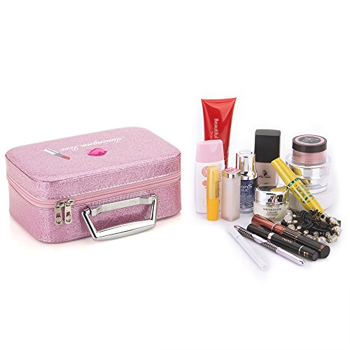 Makeup Train Case, Yeiotsy Bling Series Pink Makeup Bag with