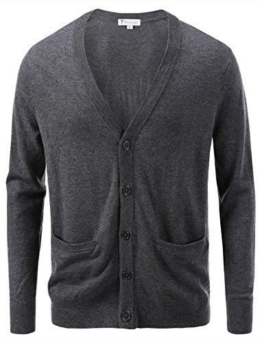 7Encounter Men's Vintage Cardigan Harbor Grey Size L (Vintage Wool Cardigan)
