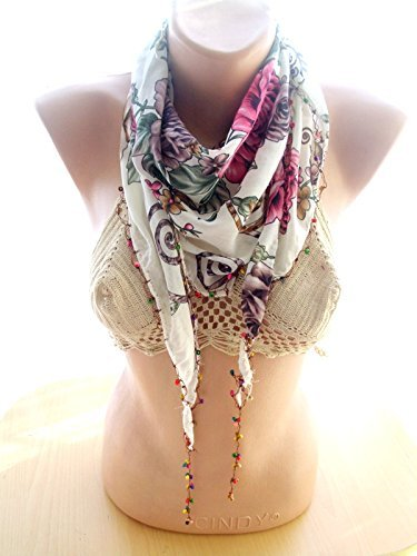 Beaded Cotton Scarf, Women Cotton Scarf, Lace Floral Scarf, Boho Cotton Scarf, Women Fashion Scarf, light Scarf, christmas Gift