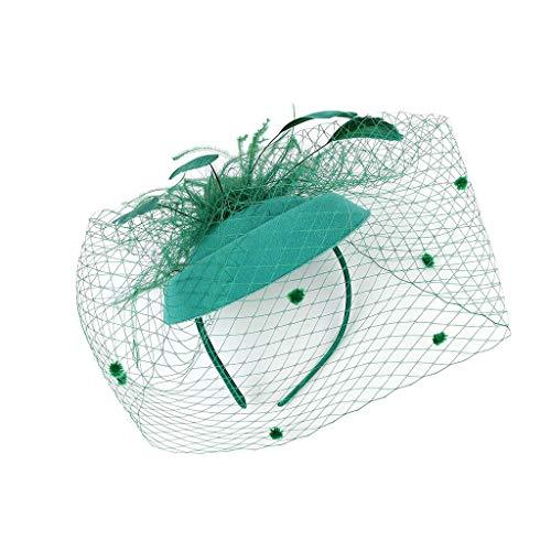 JIUDASG Headwear Women's Feather Hat - Hair Pin Cocktail Headwear Pillbox Hat Green -