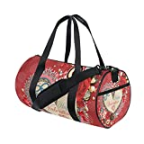U LIFE Valentines Day Chocolate Heart Love You Summer Spring Wedding Floral Roses Sports Gym Shoulder Handy Duffel Bags for Women Men Kids Boys Girls