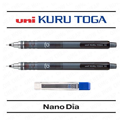 Uni Ball Kuru Toga 0.5mm - Self Sharpening Mechanical Pencil - Smoke Barrel - Pack of 2 + 12 Free Leads (Clutch Uni)