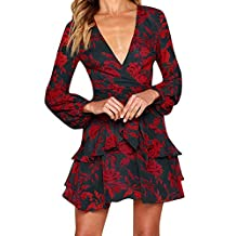 Hanican Womens Floral Print Ruffle Strappy Dress Long Sleeve V Neck Evening Party Mini Dress