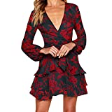 Usstore  Women's Printing Ruffles Dress,Autumn Winter Long Sleeve V Neck Evening Party Mini Dress (L, Black)