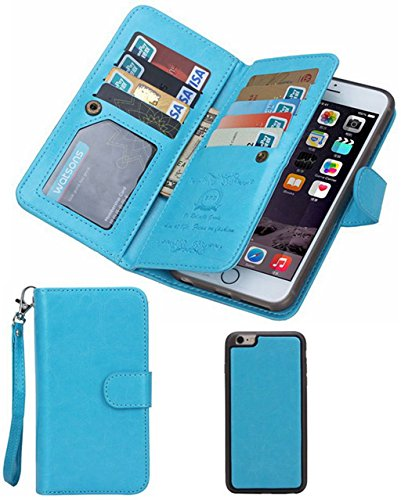 iPhone 5S/SE Wallet Case, HYSJY Magnetic Detachable PU Leather Wallet Purse For Women Men with Strap , Credit card Slots, Card Holer,Flip Slim Cover Case Fit iPhone 5/5S/SE (CARD-Blue)