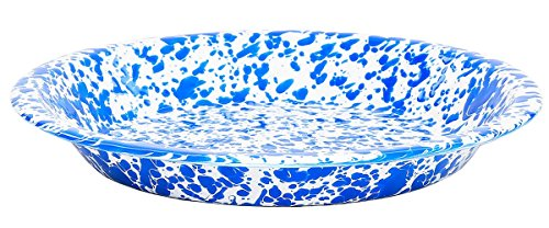 Enamel Pie Plate - Enamelware Pie Plate, 9 inch, Blue/White Splatter