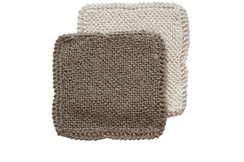 Toockies Hand knit Organic Cotton & Jute Scrub Cloths in Vintage Dish Cloth Pattern- 2 pack