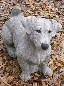 Jack Russell Terrier perro figura de piedra de piedra + Incluye instrucciones de cuidado Original de piedra figuras Mundo