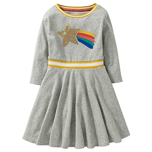 VEZAD Children Kids Girls Spring Bling Casual Cotton Long Sl