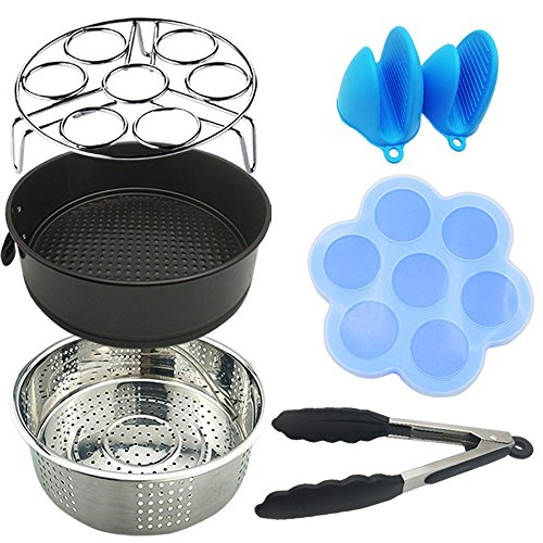 6PCS Instant Pot Accessories Set - Silicone Egg Bites Mold, Non-stick Springform Pan, Steamer Basket, Egg Steamer Rack, Silicone Kitchen Tongs, Mini Mitts Fits 5,6,8Qt Instant pot Pressure Cooker