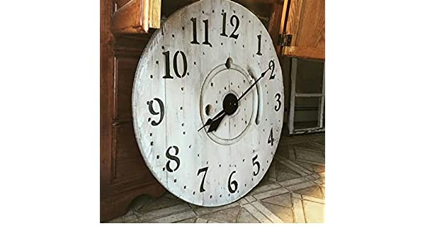 Amazoncom Wooden Spool Clock Large Clock Farmhouse Decor Hand