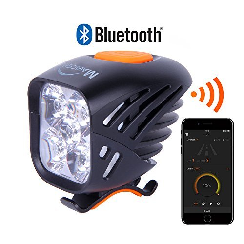Magicshine MJ 906B Bluetooth Front Bike Light, 5X CREE LED Waterproof Bicycle Light, 3200 Lumen max Actual Output. USB Rechargeable Mountain Bike Light, programmable, Waterproof MTB Light.