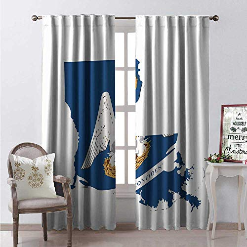 Hengshu Louisiana Window Curtain Drape Pelican State Flag Map Union Justice Confidence Customized Curtains W84 x L84 Cobalt Blue White Pale Coffee Earth Yellow