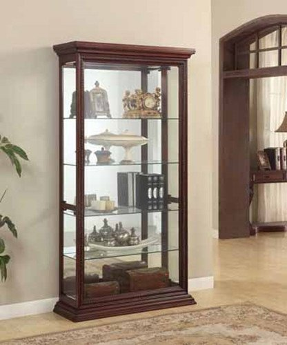 Brand New 42'' x 15'' x 80''H Vintage Look Cherry Wood Finish Curio Cabinet