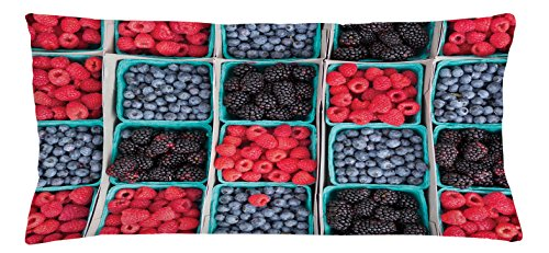 Fruits Throw Pillow Cushion Cover by Lunarable, Groceries Strawberries Raspberries and Berries Baskets Farmers Market, Decorative Square Accent Pillow Case, 36 X 16 Inches, Scarlet Slate Blue Maroon