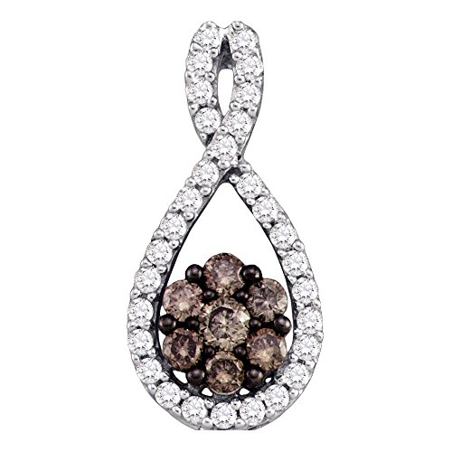 Sonia Jewels 10k White Gold Round Chocolate Brown Diamond Cluster Pendant (3/8 Cttw)