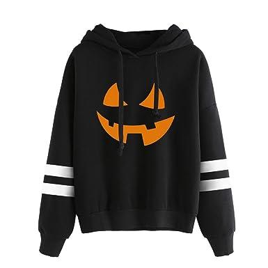 26b86c812ae Women Round Neck Halloween Pumpkin Print Long Sleeve Jumper Hoodie Mingfa  Casual Hooded Sweatshirt Pullover Tops  Amazon.co.uk  Clothing