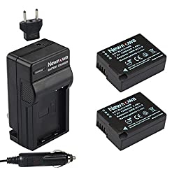 Newmowa Fully Decoded DMW-BLC12 Battery (2-Pack) and Charger kit for Panasonic DMW-BLC12, DMW-BLC12E, DMW-BLC12PP and Panasonic Lumix DMC-FZ200, DMC-G5, DMC-G6, DMC-GH2,DMC-FZ1000