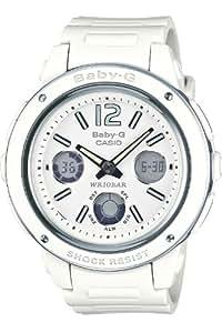 Casio BGA-150-7BER - Reloj analógico y digital de cuarzo para mujer con correa de resina, color blanco