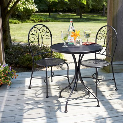 3 pc Outdoor Wrought Iron Bistro Set Table Chairs Black