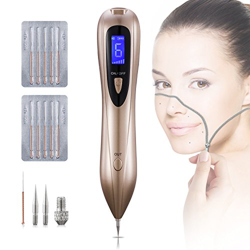 Tobeape Mole Removal Pen, Portable USB Charging Skin Tag Remover Tool Kit with Safe 6 Strength Levels, Professional LCD Display Beauty Pen for Body Facial Freckle Nevus Warts Age Spot Tattoo