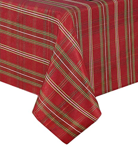 Plaid Metallic Christmas Fabric Tablecloth, Glitter Xmas Weave Holiday Cloth Tablecloth, 70 Inch Round ()