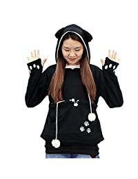 Womens Pullover Sweatshirt Hoodie with Big Kangaroo Pouch for Small Cat Dog