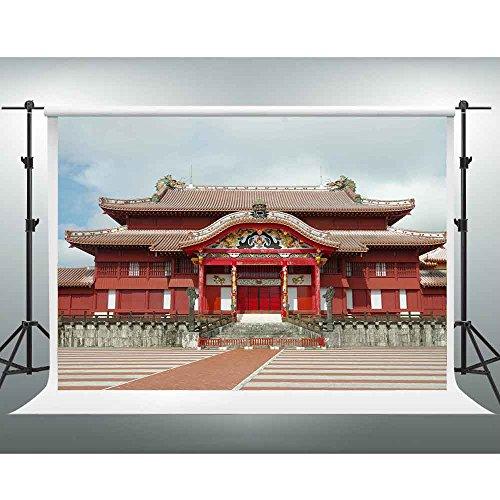 - GESEN 10X7ft Japanese Architecture Backdrop Japan's Vacation Resort Shuri Castle Background for Photographers Video Studio Props SEN072
