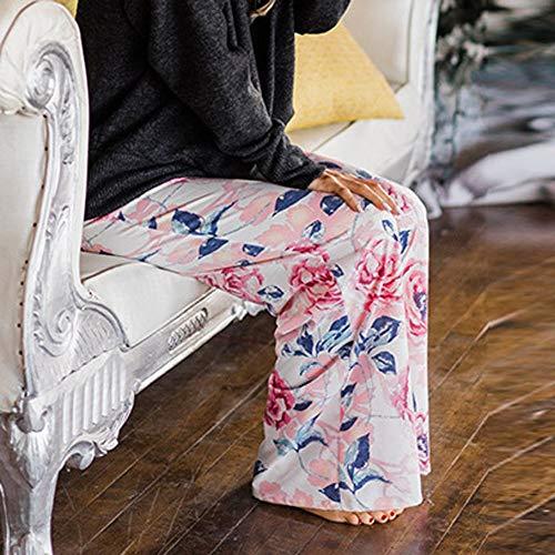 Léger Grande Amincissant Jogging Eté Taille Elastique De Détente Pants Décontracté Jambe Floral Imprimé Pantalon Blanc Pyjama Ample Femme D'intérieur Fluide Yoga Mcys Chic Sport Large nwgvpOCqxY