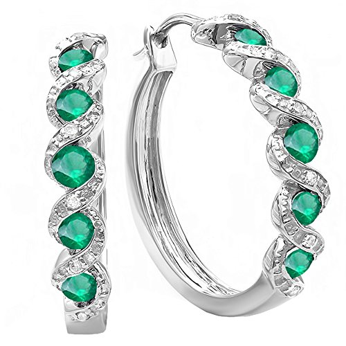 Dazzlingrock Collection White Round Diamond & Emerald Ladies Hoop Earrings, Sterling Silver ()