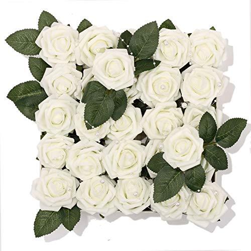 - Meiliy 60pcs Artificial Flowers Ivory Roses Real Looking Foam Roses Bulk w/Stem for DIY Wedding Bouquets Corsages Centerpieces Arrangements Baby Shower Cake Flower Decorations