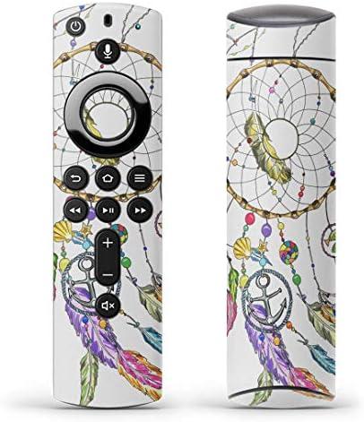 igsticker Fire TV Stick 第2世代 専用 リモコン用 全面 スキンシール フル 背面 側面 正面 ステッカー ケース 保護シール 010563 ドリームキャッチャー 羽 カラフル