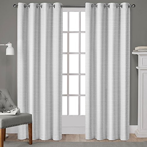 """Exclusive Home Curtains Whitby Grommet Top Window Curtain Panel Pair, 108"""" Length, Winter, 2 Piece"""