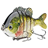 Bassdash SwimPanfish Multi Jointed Panfish Bluegill Swimbaits Topwater Hard Bass Fishing Crank Lure 3.5'/0.85oz, 4 Colors (Bluegill)