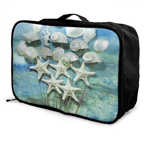 - Travel Bags Seashell Starfish Bouquet Stems Portable Duffel Fabulous Trolley Handle Luggage Bag