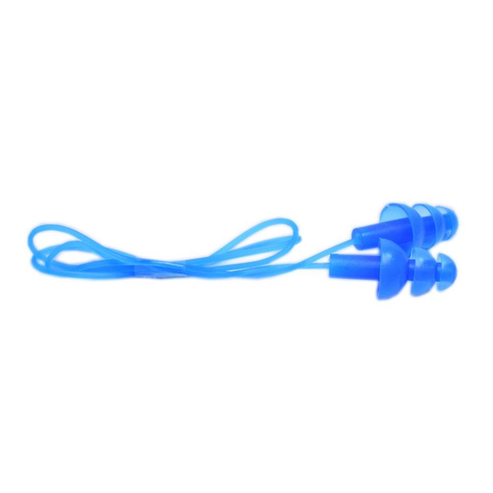 1 Paar Weiche Silikon Schwimmen Ohrst/öpsel Ohrenschutz Ohrstecker mit Schnur Blau