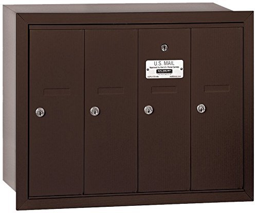 Salsbury Industries 3504ZRU Recessed Mounted Vertical Mailbox with USPS Access and 4 Doors, Bronze by Salsbury Industries by Salsbury Industries