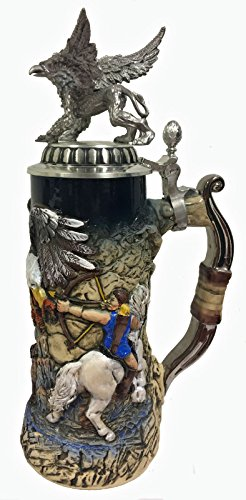Hunters and Griffin with 3D Pewter Lid LE German Stoneware Beer Stein .75 L by Pinnacle Peak Trading Company (Image #2)