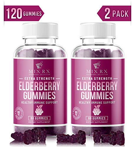(2 Pack   120 Gummies) Organic Elderberry Gummies for Adults Kids Toddlers with Echinacea, Vitamin C, Zinc, Propolis - Sambucus Black Elderberry Gummy Extract - Better Than Capsules Syrup