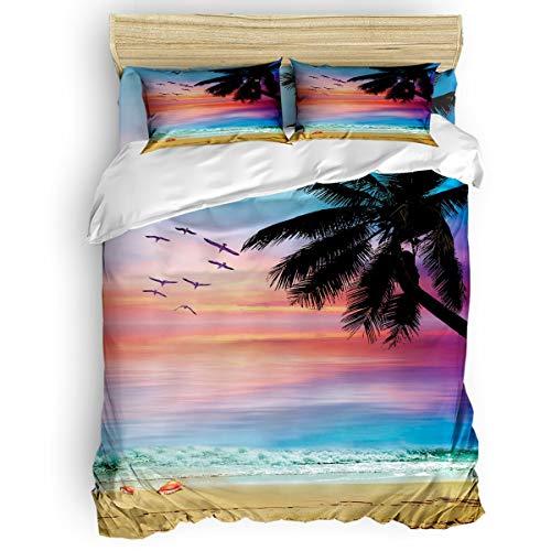 Vandarllin Full Size Bedding Set- Coconut Trees Tropical Beach Sunset Duvet Cover Set Bedspread for Childrens/Kids/Teens/Adults, 4 Piece 100% Cotton -