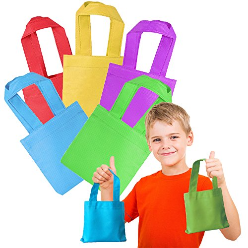 Toy Cubby Mini Poly Non-Woven Colorful Tote Bags - 24 Pcs (Candy Treat Ideas)