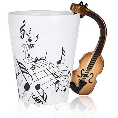 LanHong - 400ml Novelty Violin Mug Ceramic Coffee Milk Cup with ()