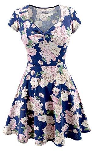 Sylvestidoso Women's Cap Sleeve Navy Sweetheart Casual Flared Summer Dress (M, Navy) -