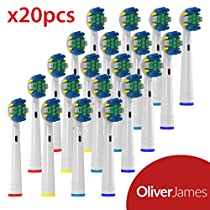 Oliver James Replacement Brush heads - Compatible with Oral B Floss Action - 20 pack