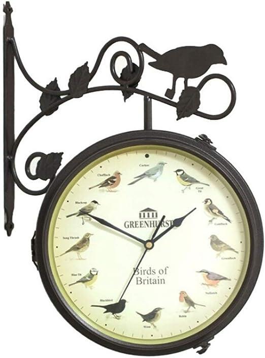 ZJ-CLOCK Reloj De Jardín Montado En La Pared, Reloj De Pared De Doble Cara, Hierro Forjado, Jardín, Sala De Estar, Decoración, Reloj, Negro, De Dibujos Animados: Amazon.es: Hogar